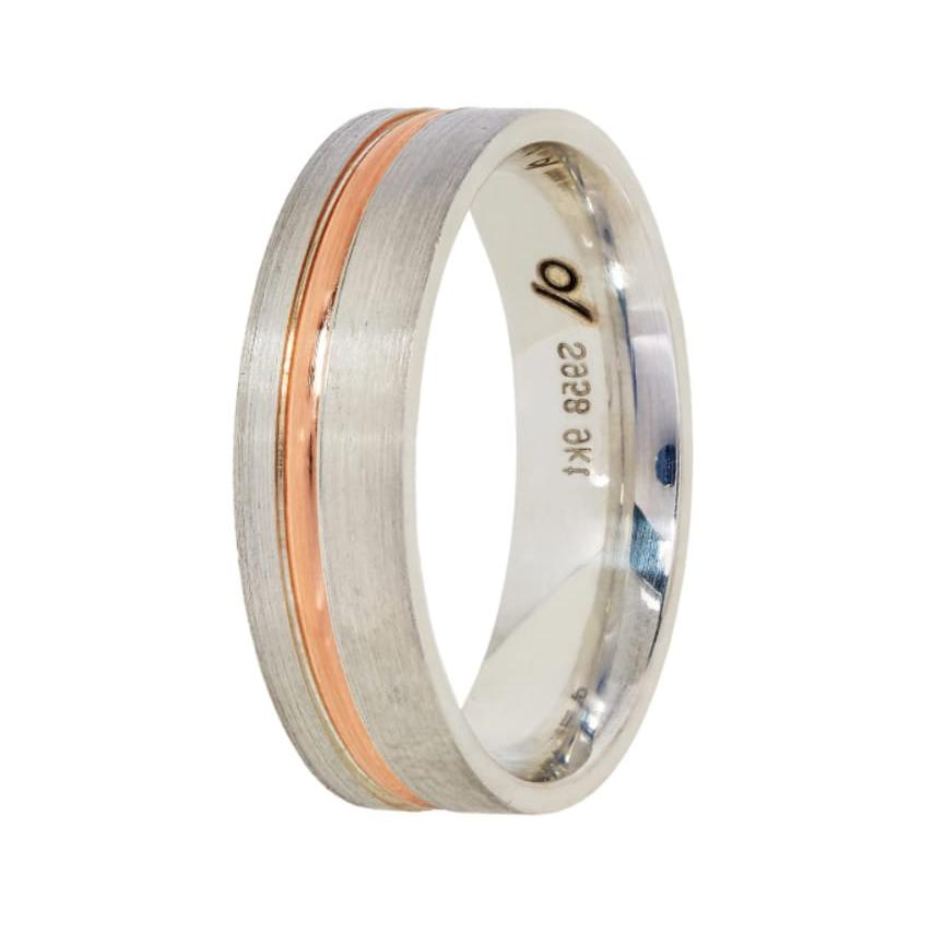 Argentium wedding band-rose gold inlay (6mm)