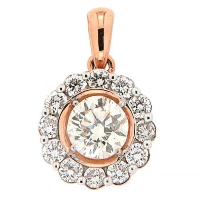 18Kt Rose Gold petals Diamond pendant (0.71ct)