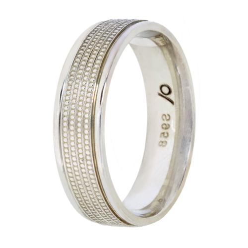 Argentium wedding band-milgrain inlay (6mm)
